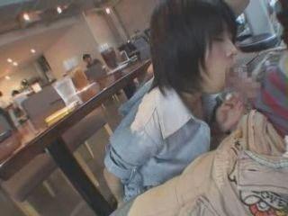 Girl Blows To Boyfriend In Public Restaurant