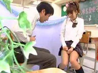 Pervert Japanese Daddy Jerks on Student Uniform Girl