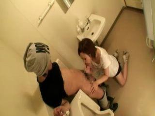 CFNM Blowjob and Tekoki at Store Toilet