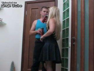 Blond MILF In Nylons Anal Fucked On Doorway