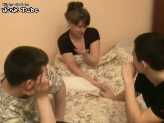Mature Russian Sleeping Woman Awaken and Fucked By Two Boys