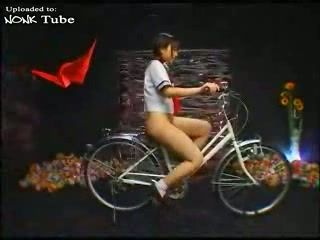 Japanese Schoolgirl masturbates With The Saddle Of Her Bicycle