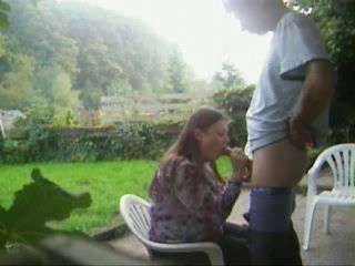 Amateur Wife Blowjob and Facial In Garden CFNM