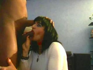 Hot MILF with great lips sucks a black cock
