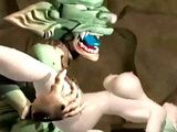3D anime hard fucked by monster and filmed by her friend