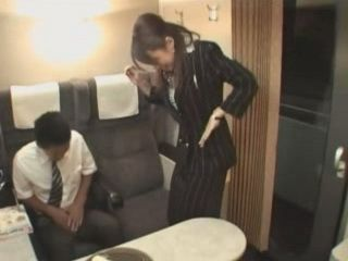 Clumsy Train Hostess Will Repay With Blowjob For Spilling Juice On Boy's Pants