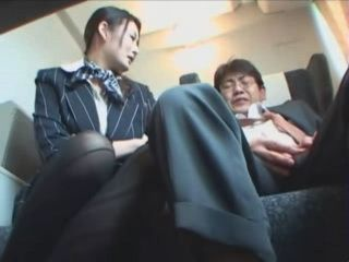 Train Hostess Heals Old Guy's Cock With Blowjob