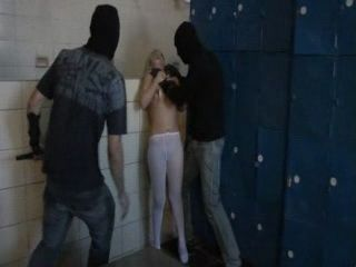 Terrified Screaming Teen Gets  Anal Fucked By Two Masked Guys