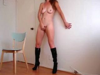 Freaking hot babe with boots masturbating