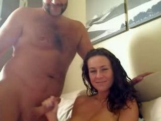 Hot MILF plays with hubbys cock on webcam