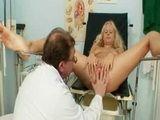 Gorgeous blond babe pussy gyno exam