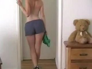 Babe with hot body stripping and masturbating