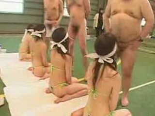 Japanese pornstars line up blindfolded and suck cock