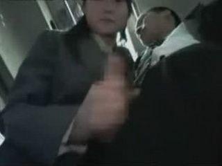 Asian Schoolgirl Gives Handjob On Bus