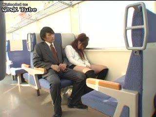 Sleeping japanese Girl Awaken For Blowjob In Train