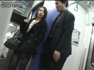 Old Japanese Guy Gets Handjob In Subway For Couple of Bucks From Student Girl
