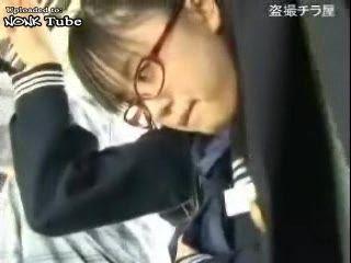 Japanese Nerd Schoolgirl Groped and Fucked In Bus