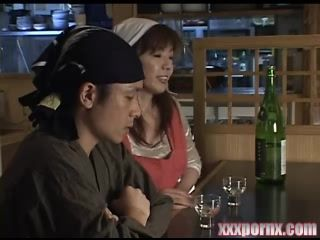 Japanese Mature Barmaid Fucked By  Customer After Hours