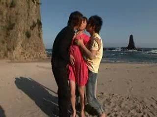 Japanese Threesome Fuck On The Beach