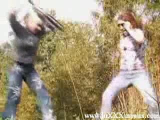 Two wild and crazy girls forced guy to sex