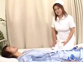 Japanese Mature Nurse Taking Care Of Boy In Coma