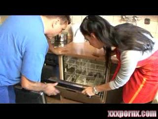 MILF Housewife Fucked In Kitchen by Plumber