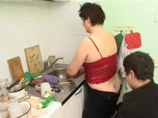 Fat Teen Boy Adores Stepmom In The Kitchen