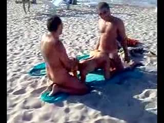 Real Amateur Threesome On The Beach Full Of People
