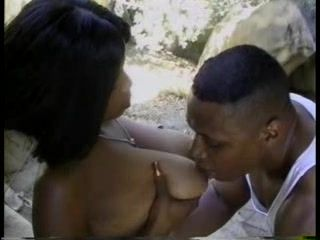 Busty Ebony Chick Fucked On The Rock