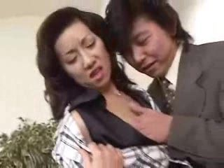 Japanese Mature Secretary Pleasuring Her Younger Boss