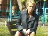 Blonde pees in park