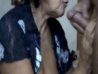 Amateur Granny Gives Blowjob To grandpa and gets Facial Cumshot