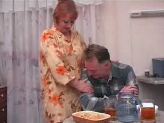 Mature Redhead British Wife Fucks Husbands Brother In kitchen