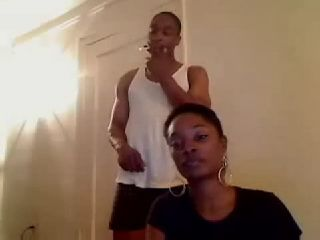 Amateur Ebony Webcam Whore Gives Blowjob To her Roommate For The Show