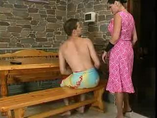 Russian Aunt Attack Boy In Sauna and Gets Hard Anal Fuck In Return