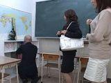MILF Teachers Abuse Their Newbie Colleague Afterhours In Classroom