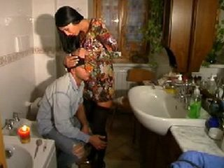Wasted Junkie Gets Fucked By Hot MILF In Bathroom