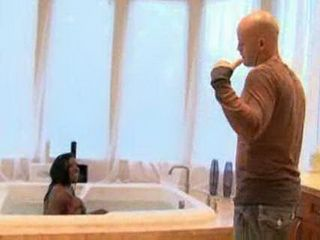 Angry Man Trying To Throw Ebony Milf From His Jacuzzi