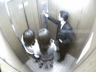 Pervert Japanese Employer In Elevator