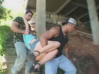Guys Abused Bondage Blonde Girl Under The Bridge