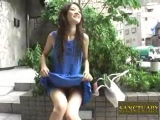 Japanese Girl Fucks Dildo In Public