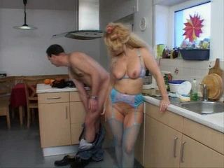 Mature Housewife In Blue Lingerie Gets Fucked In Kitchen