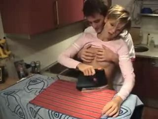 Teen Interrupted in Ironing and Gets Fucked at Home