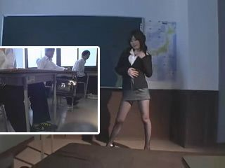 Busty Japanese MILF Teacher Strips at Classroom and Doing Titjob To One Of The Students