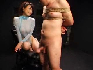 Male Bondage Guy In Ropes Tortured By Sexy Asian Girl With Blowjob and Handjob