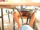 Wife Taped Flashing Her Fresh Shaved Pussy Under Table In Public Restaurant