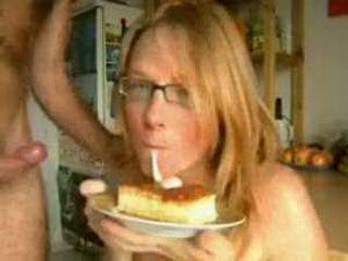 Nerd Girl Enjoy In Sperm Cake