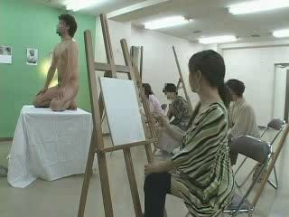 Nude Art Model and Japanese MILF Painter CFNM