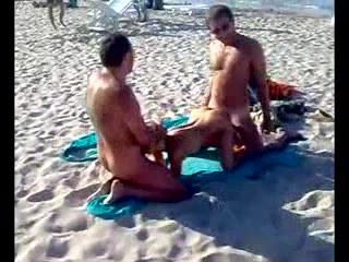 Amateur Threesome At Public Beach In Front Of Bunch Of Tourists