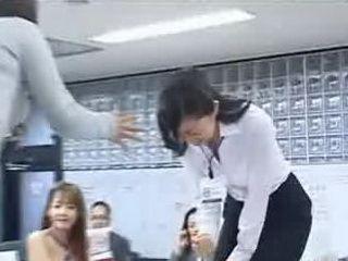 New Japanese female employees play rock paper scissors strip